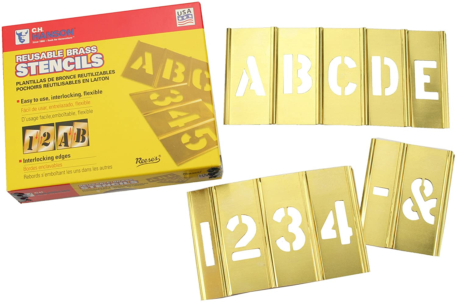 "Z Stencils Set of Brass Interlocking Stencils 2/"" 50mm High Letters A"