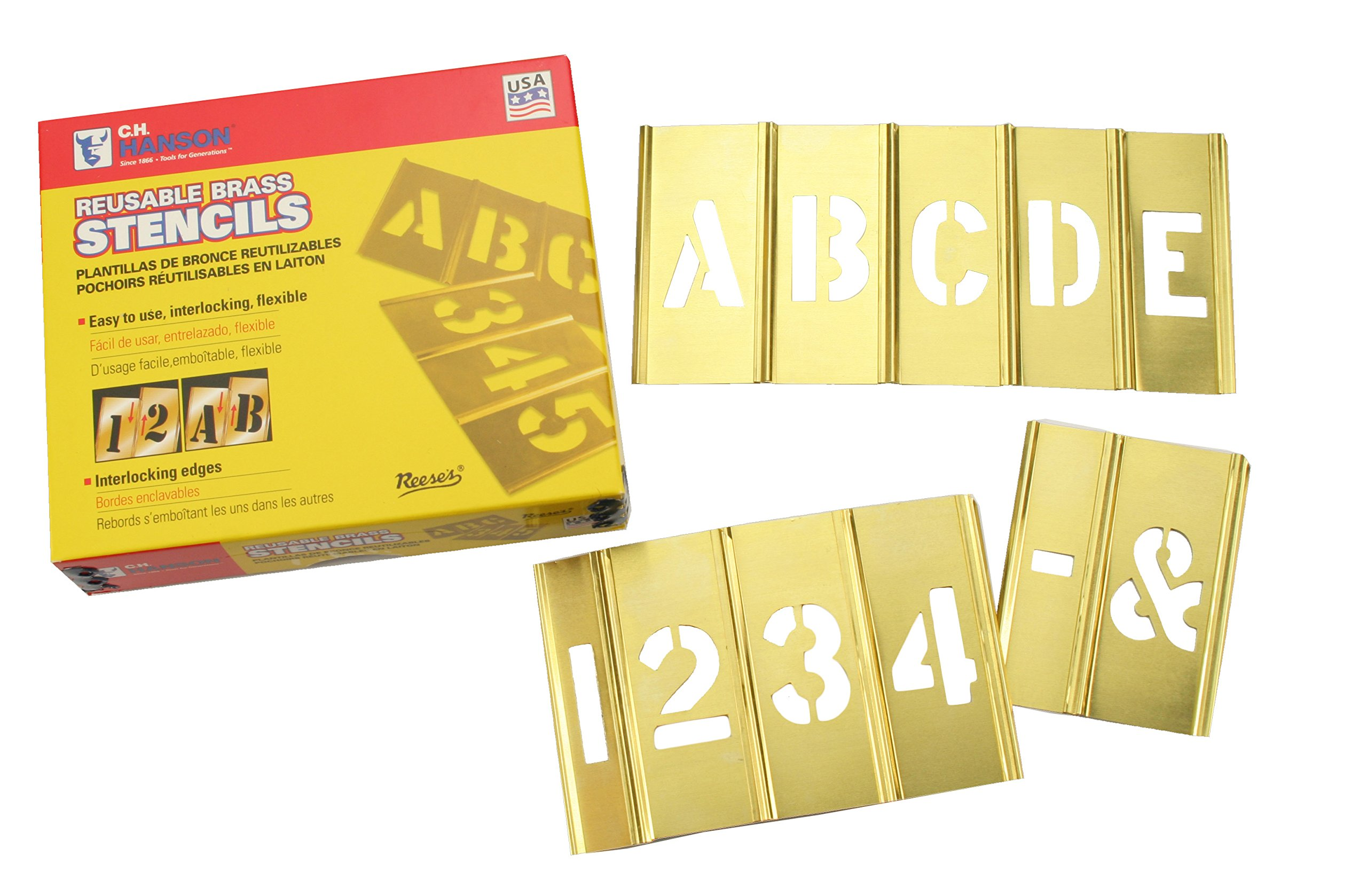 Box Partners STBLN3 Brass Stencil Set of Gothic Style Letters & Numbers, 45 Pieces, 3'' by Box Partners