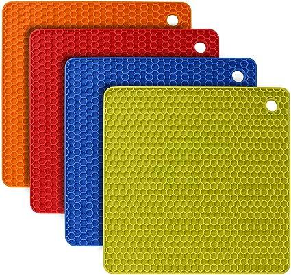 Silikon Untersetzer Set f/ür T/öpfe gotyou 4 St/ücke Silikon-Untersetzer Wabenmuster Silikon Topf Untersetzer Verdicken Topflappen Rund, Quadratisch Silikon Multi-Use kompliziert Untersetzer Matte