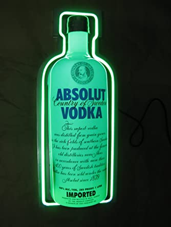 green absolut vodka logo sign light bottle green colors limited
