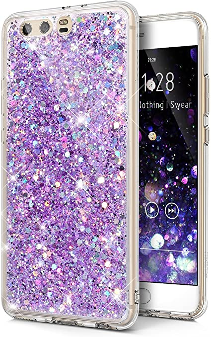 Huawei P10 Plus Case,Huawei P10 Plus Cover,Sparkly Shiny Glitter Bling Powder 3D Diamond Paillette Slim Glitter Soft Rubber Gel TPU Protective Shell ...