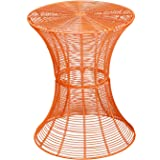 Adeco Accent Round Starburst End/ Side/ Tea Table, Iron Wire Weave Netting, For Outdoor Garden Patio
