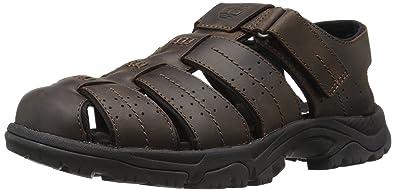 Timberland Men's Crawley FH Sandal, Dark Brown, 13 M US