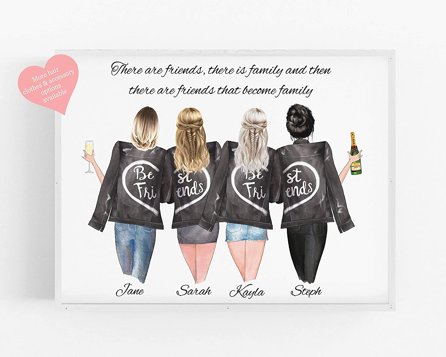 Personalised Friends Gift Friendship Print Best Friends Present Custom Quote Customisable Hair Clothing Drinks Perfect Gift For Birthdays Christmas Available In 5 X7 A5 8 X10 A4 A3 Amazon Co Uk Handmade