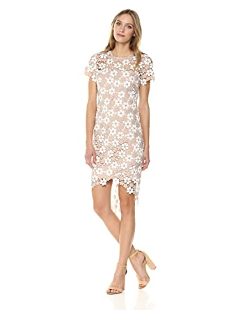 Shoshanna Womens Baylor Short-Sleeve High-Low Formal Dress, Flax/Ivory/