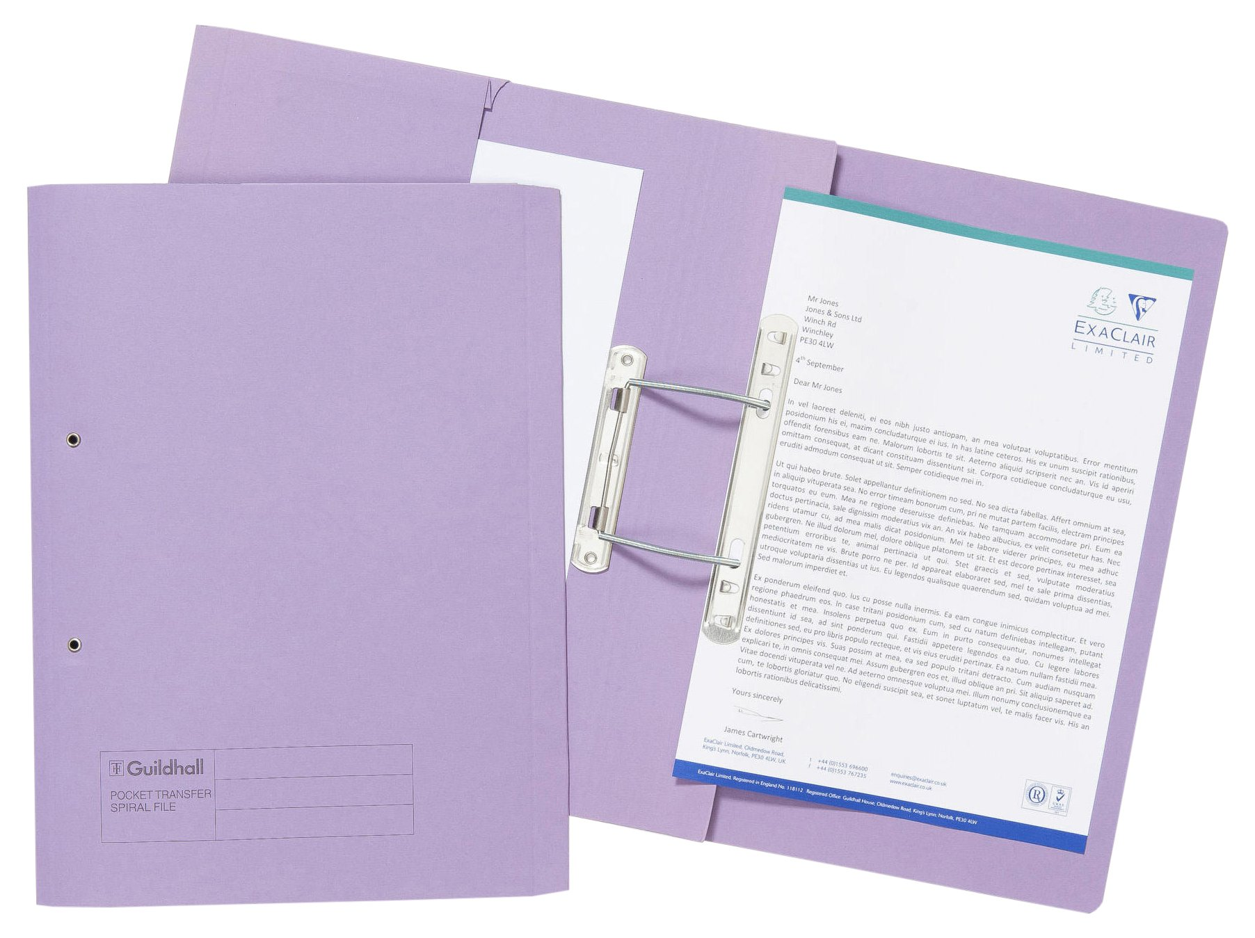 Guildhall 315 GSM Pocket Spiral File, Foolscap, Left Hand Pocket, Mauve, Pack of 25