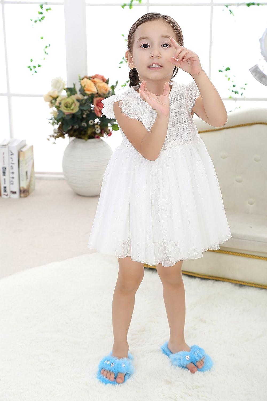 Onmygogo Girl/'s Bejeweled Flip Flops Little Kid Fuzzy Indoor Slippers Pink