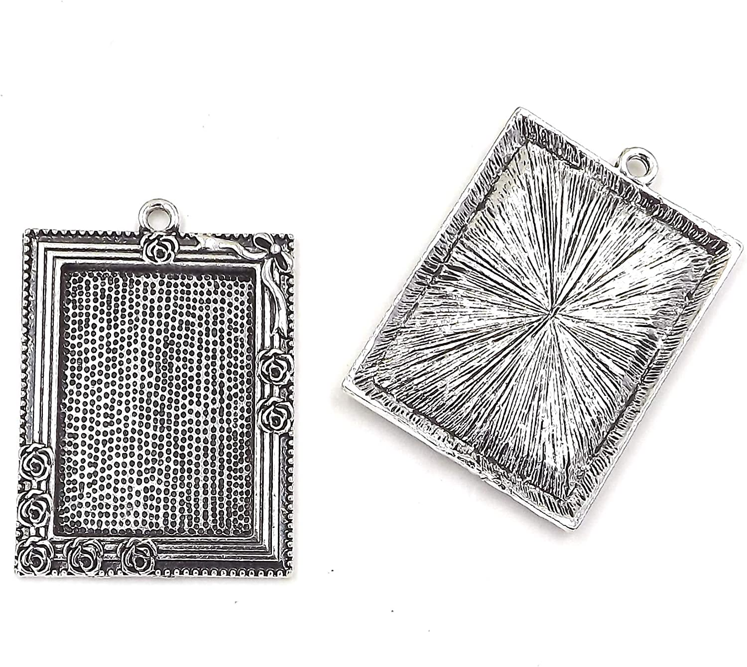 25X35mm Rose Frame Pendant Tray in Antique Silver with glass
