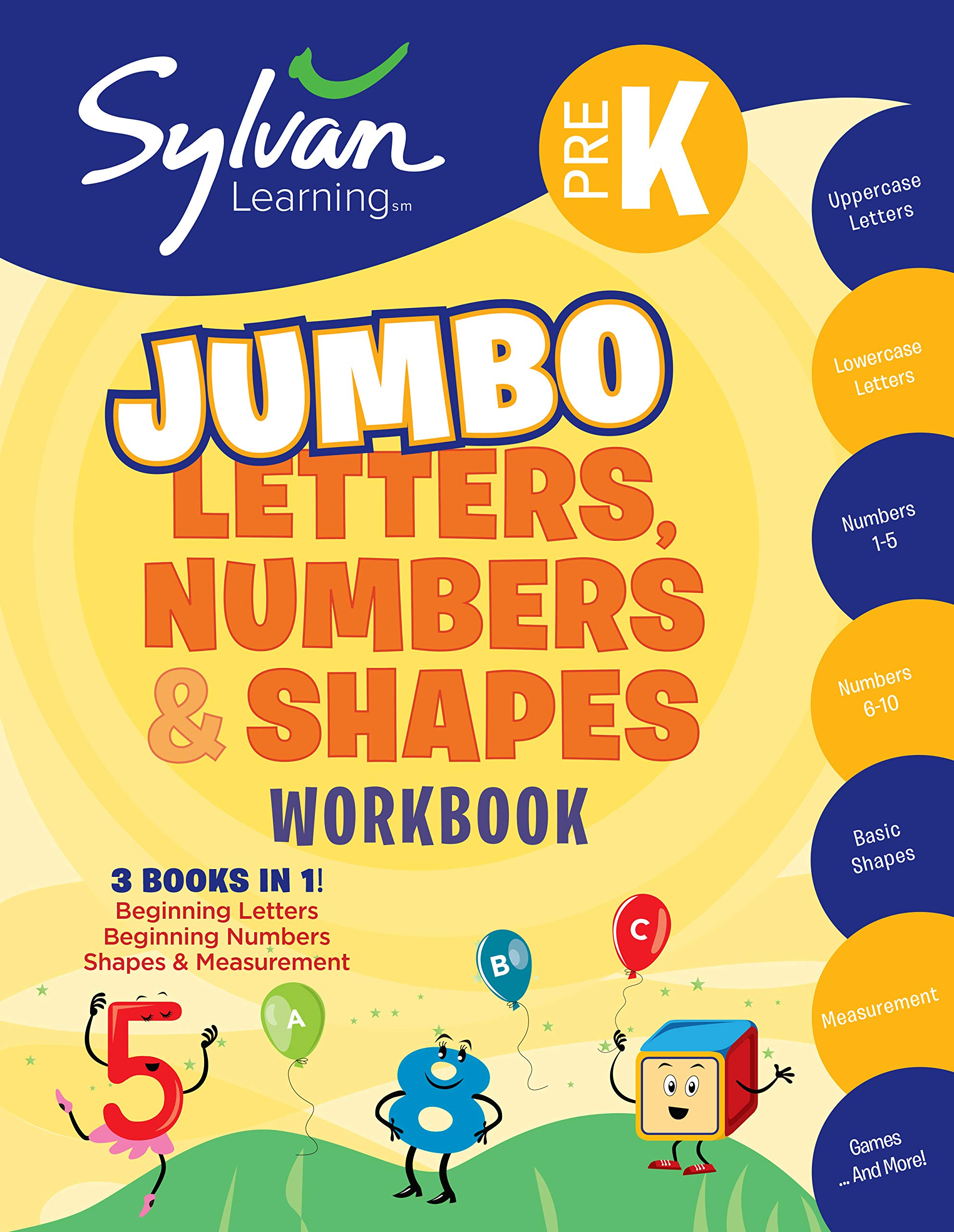 Amazon.com: Pre-K Letters, Numbers & Shapes Jumbo Workbook ...