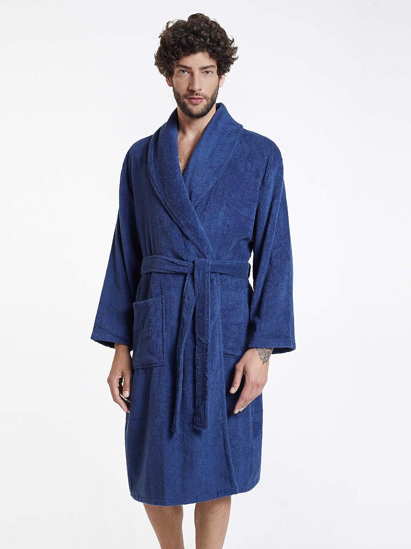 SIORO Mens Robe Terry Cotton Bath Robes Shawl Collar Soft Bathrobe Calf Length Spa Shower Loungewear