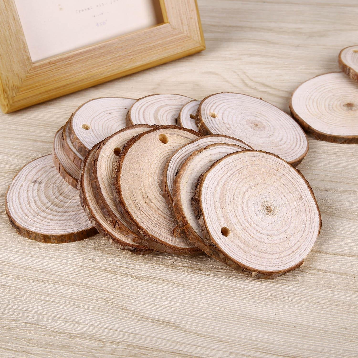 50pcs 1.9 2.4 Wood Slices with Holes and 33 Feet Natrual Jute Twine for DIY Crafts Centerpieces by MAIYUAN