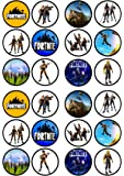 24 Fortnite PRECUT Edible Cupcake Toppers - wafer card disc cake decorations STAND UP (PRECUT)