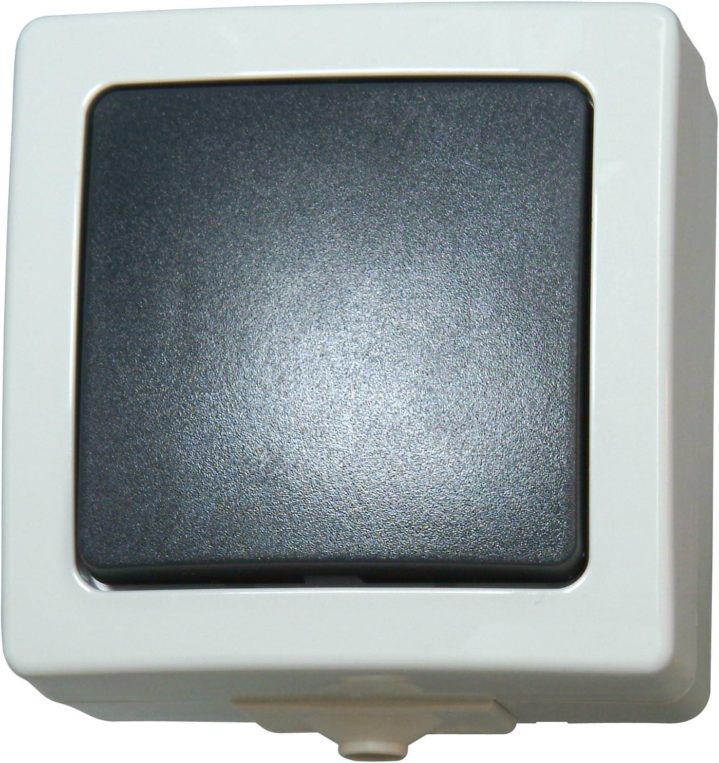 IP44 10A Aus- und Wechselschalter grau 250V grau /& Nautic Universalschalter Kopp Nautic Steckdose und Schalter Kombination f/ür Feuchtraum IP44 16A Aufputz Schutzkontakt Aufputz,250V