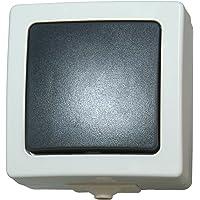 Kopp Nautic Universalschalter (Aus- und Wechselschalter), Aufputz, Lichtschalter für Feuchtraum, 250V (10A), IP44, Basiselement mit Komplettgehäuse, herausnehmbarer Sockel, grau, 565656001