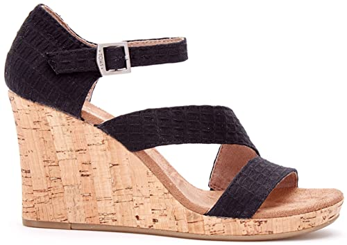 fd226eb709d4 Image Unavailable. Image not available for. Color  TOMS Women s Clarissa Wedge  Black Textile Cork Sandal ...