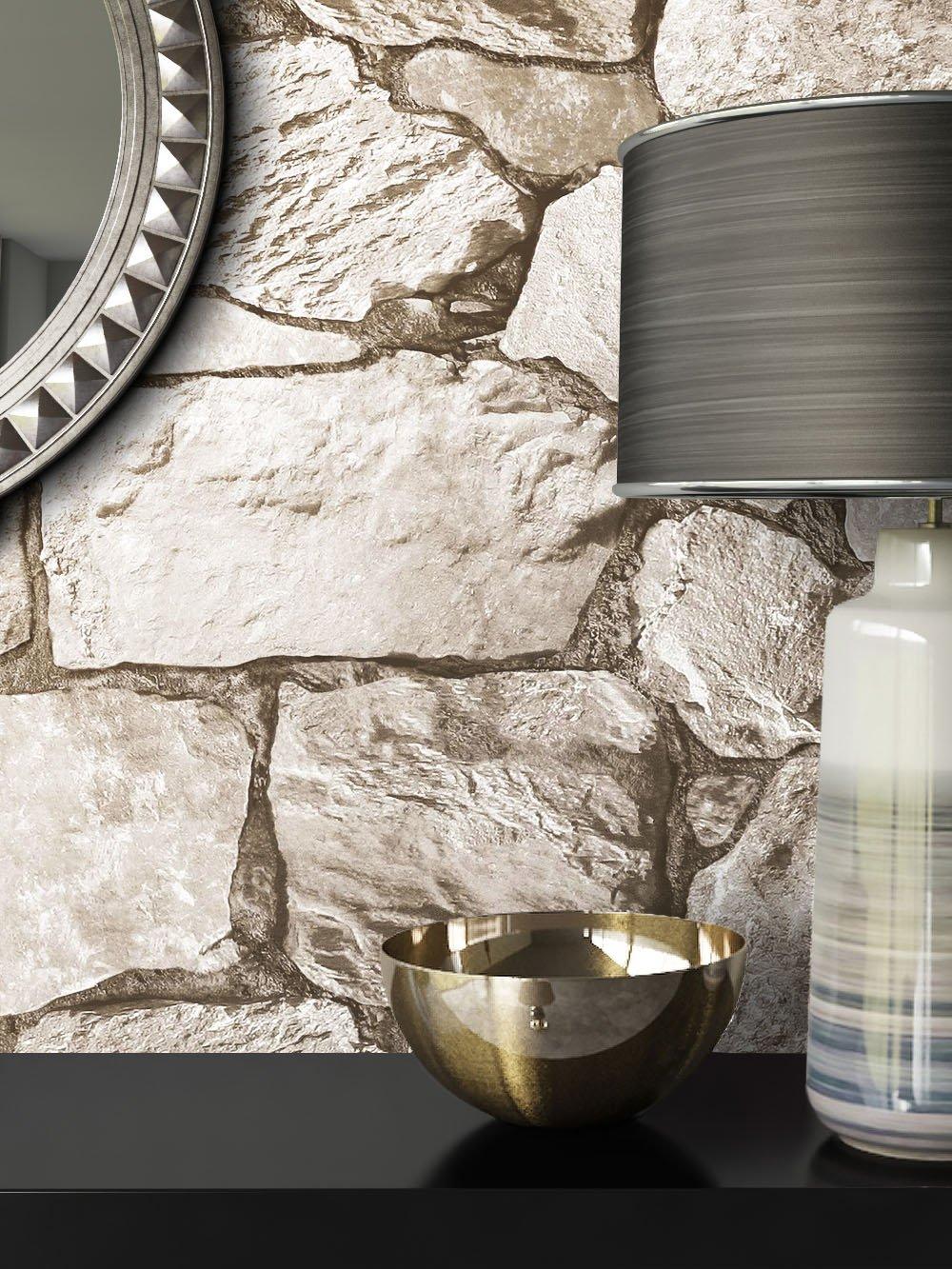 inclusivi Guida alla tappezzeria NEWROOM pietra carta da parati crema fliselina crema Landhaus Modern Mauer Stein bella ottica 3D moderna e nobile design moderno e nobile ottica 3D