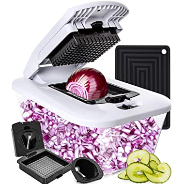Fullstar Vegetable Chopper and Spiralizer with Large Glass Container - Onion Chopper Food Chopper