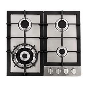 "Cosmo 640STX-E 24"" Gas Cooktop with 4 sealed Burners, Counter-Top Cooker Cooktop with Cast Iron Grate Stove-Top, Melt-Proof Metal Knobs ( Stainless Steel )"