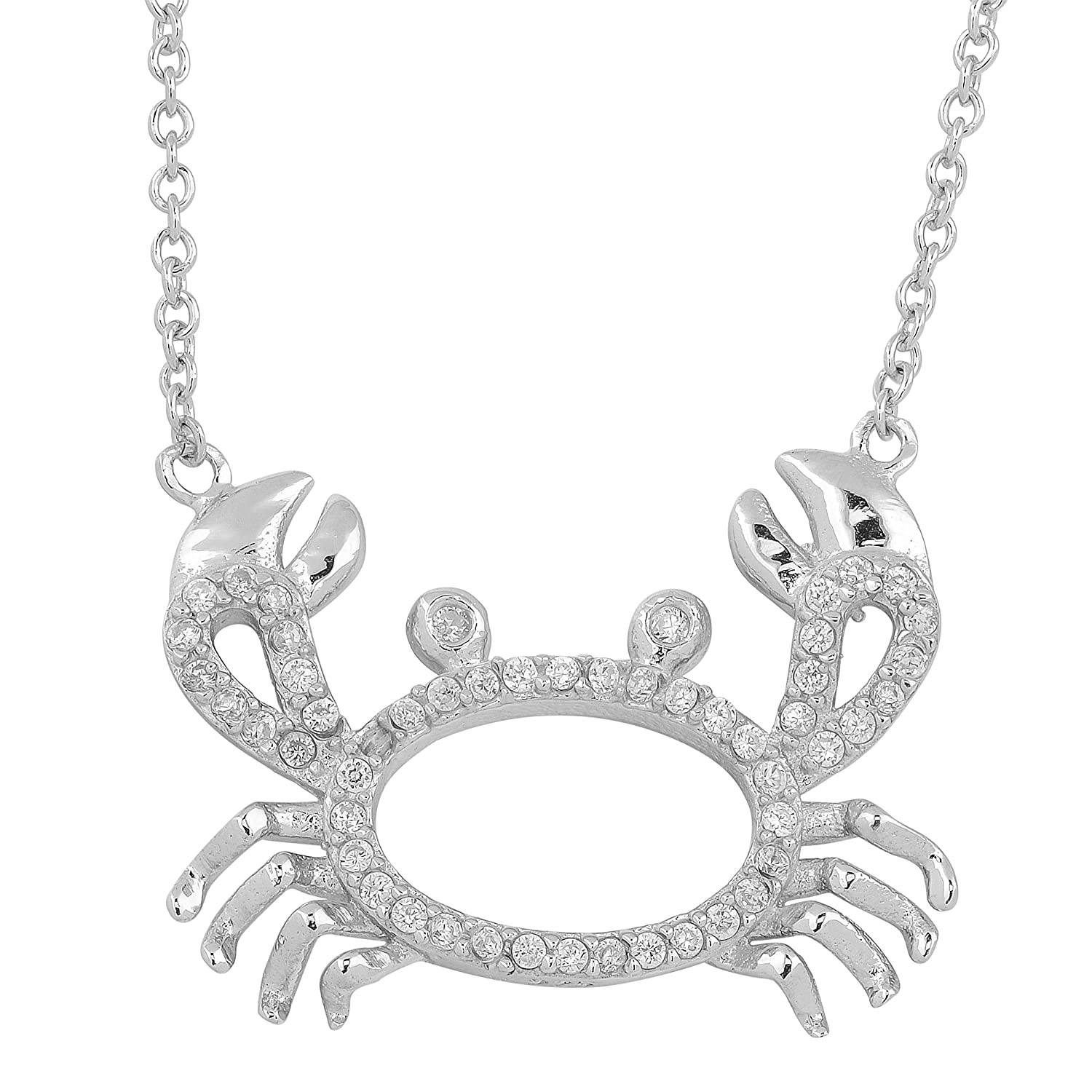 18 inch Kooljewelry Sterling Silver and Cubic Zirconia Crab Necklace