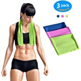 GLAREE Instant Cooling Towel, Soft Cool Neck Scarf For Sports Workout Fitness Golf Gym Yoga Running Hiking and More, 3 Piece