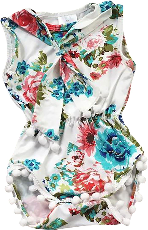 BNY Corner Baby Girls Toddler Floral Pompom Cotton Romper Infant 6M-24M