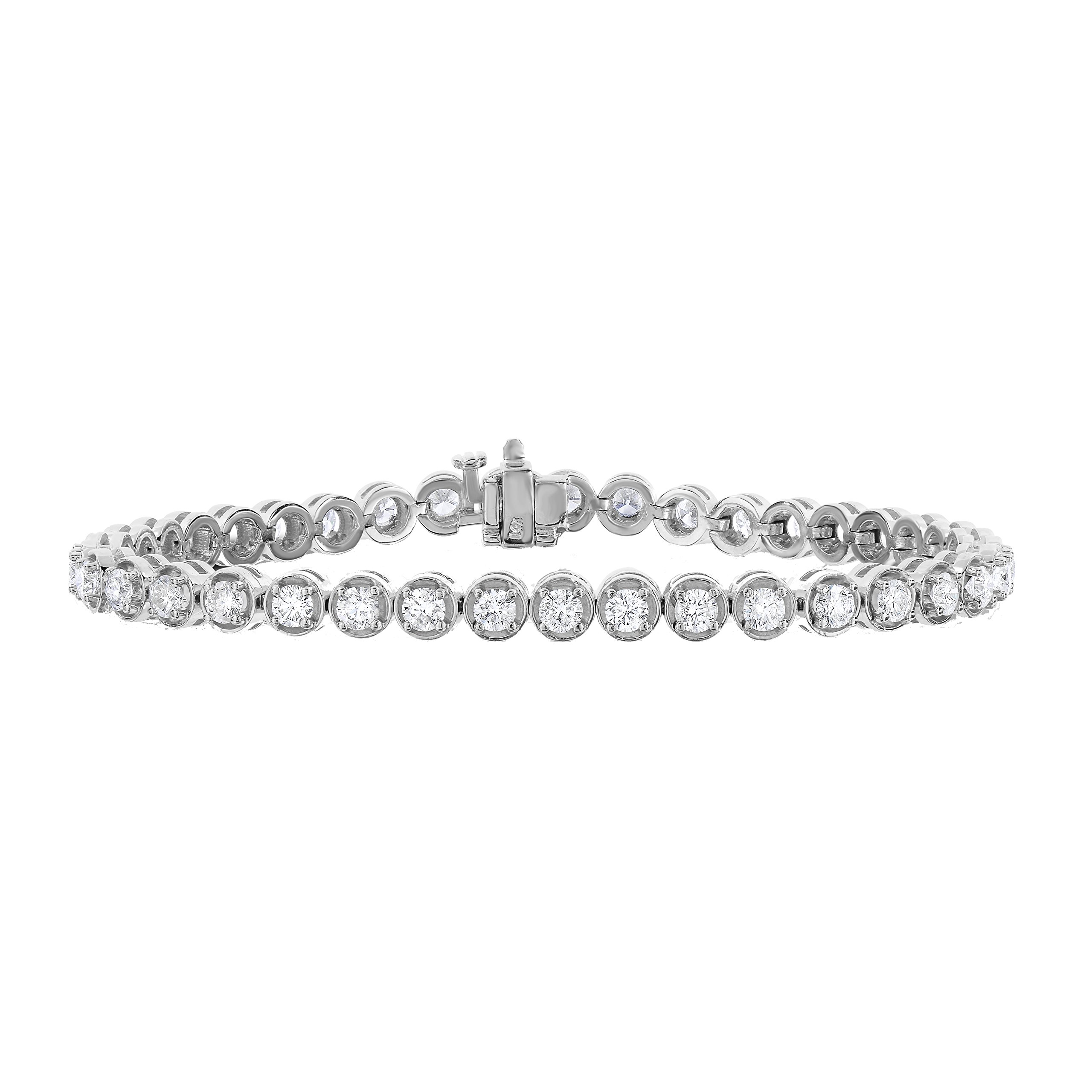 3 cttw Certified Classic Tennis Diamond Bracelet 14K White Gold SI2-I1 Clarity G-H Color by Vir Jewels