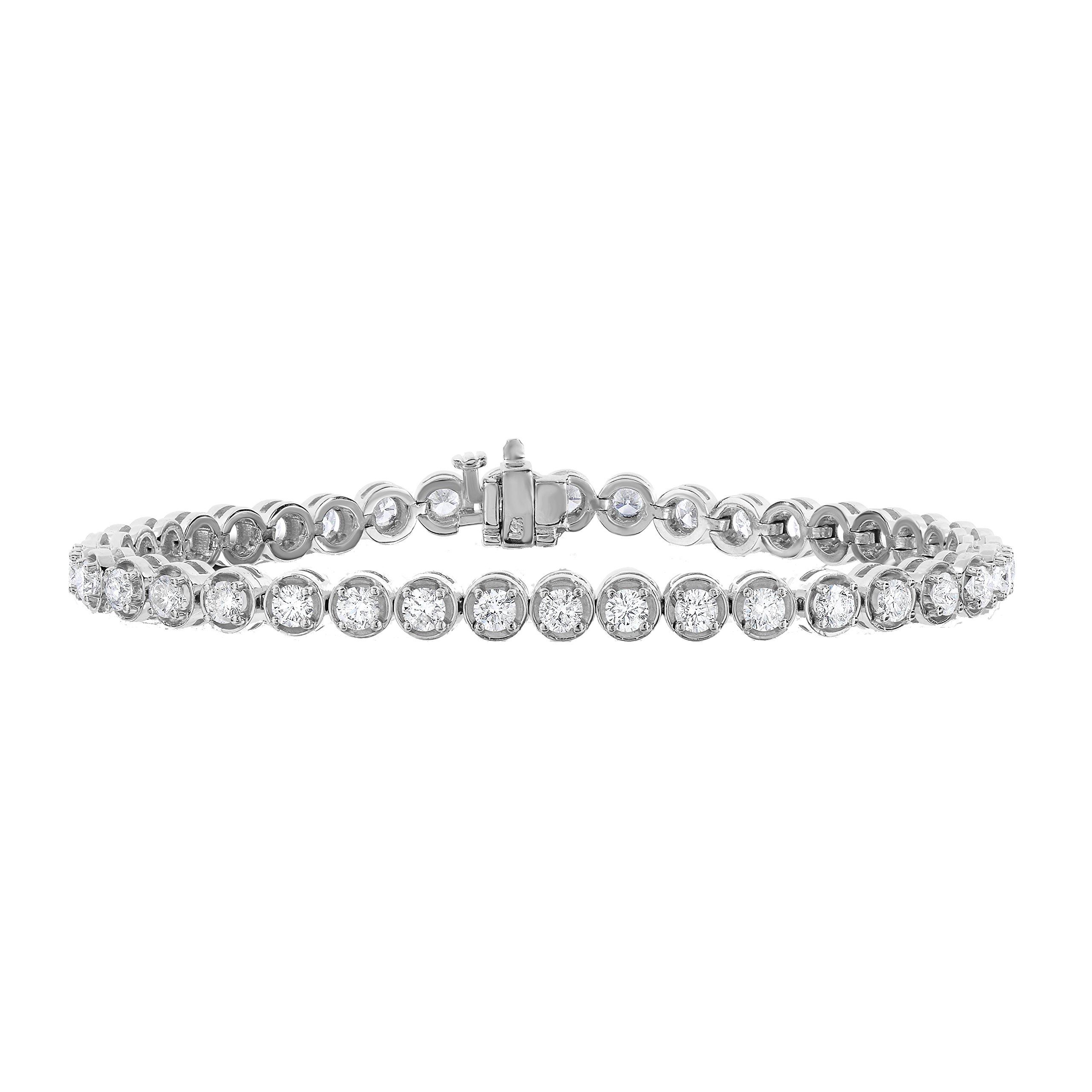 4 cttw AGS Certified I1-I2 Clarity Diamond Tennis Bracelet 14K White Gold (H-I)