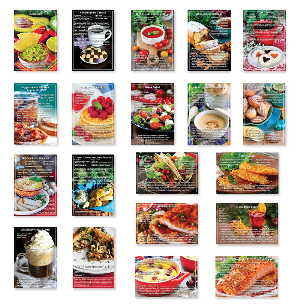 RECIPES postcard set of 20. Quality post card variety pack depicting recipes on postcards. Made in USA.