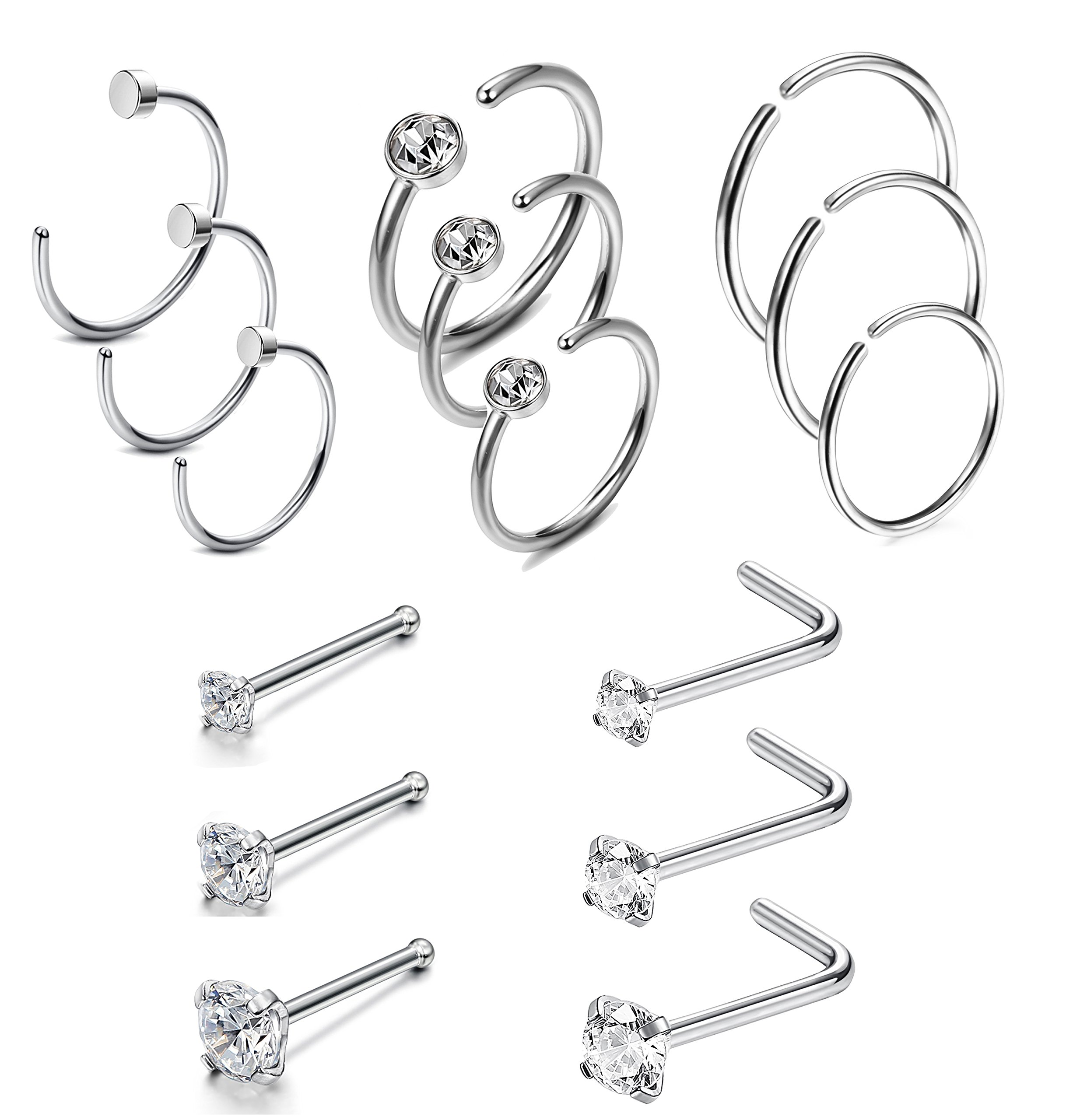 Jstyle 20G 15Pcs Stainless Steel Nose Rings Studs Hoop Piercing Body Jewelry Silver Tone by Jstyle
