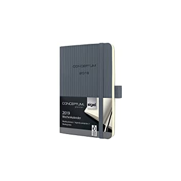 Sigel C1937 Agenda semanal 2019, tapa blanda 9,3 x 14 cm, gris oscuro
