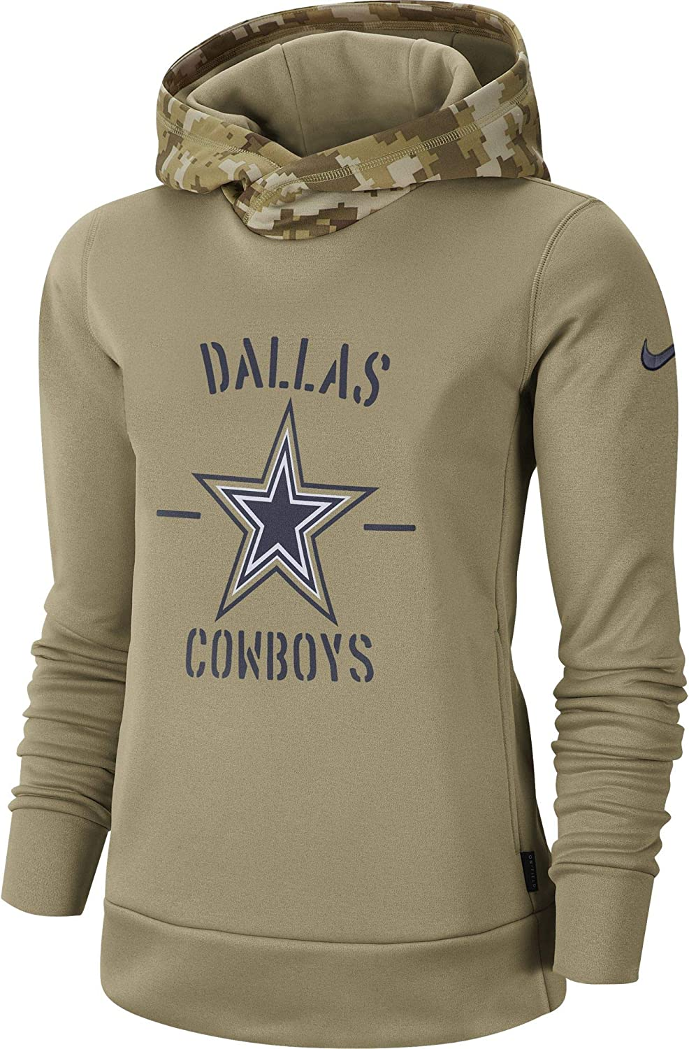 Dallas Cowboys Nike Womens 2019 Khaki Salute to Service Therma Pullover Hoodie Large