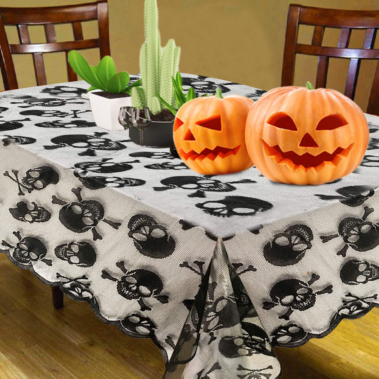 2020 Tablecloth New Style Skull Black Lace Festive Decoration for Kitchen Dinner Parties Hollow Out Rectangular Table Cover