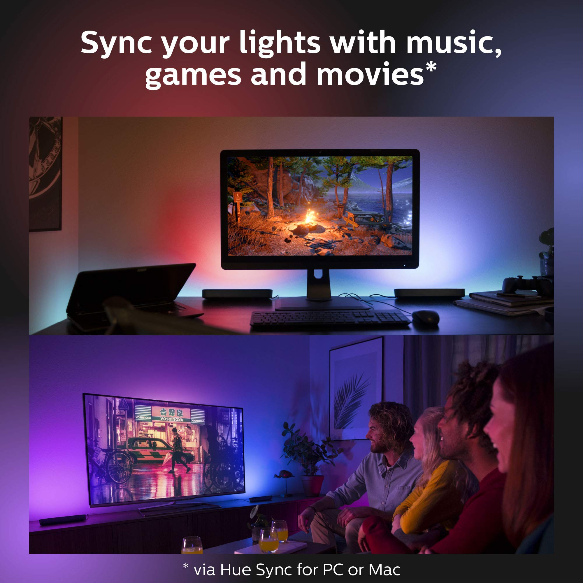 Philips - Hue Play White & Color Ambiance Smart LED Bar Light - Black (Double Pack) (Renewed) by Philips Hue (Image #8)