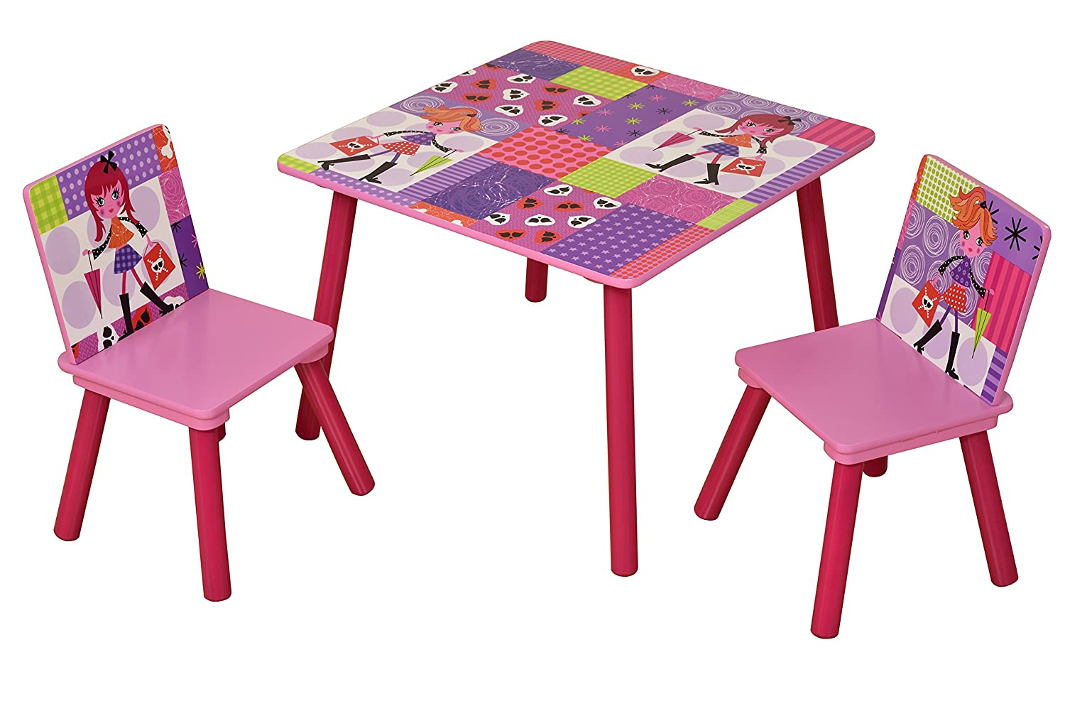 Liberty House Toys Fashion Girl Table and Two Chair Set, Wood, Multi-Colour MZ4601