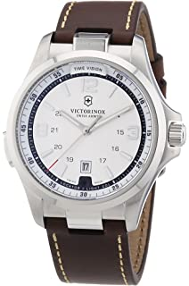 Mens Watches Victorinox NIGHT VISION SILVER WH. DIAL BROWN LEATH V241570
