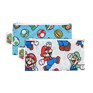 Bumkins Nintendo Super Mario Snack Bags, Reusable, Washable, Food Safe, BPA Free - Mario & Luigi, Pack of 2