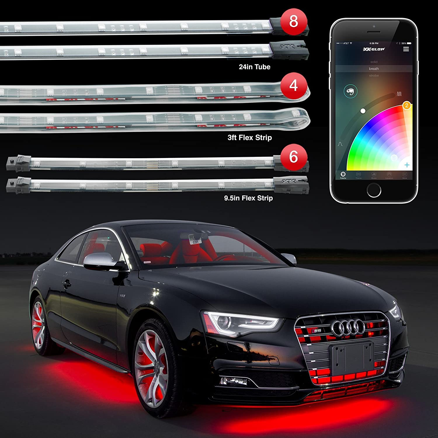 """8pc 24"""" Under Glow Tube + 6pc 10"""" Interior Strips + 4pc 36"""" Wheel Light Strips XKchrome App Control Car LED Accent Light Kit Millions of Colors Patterns Dual Zone Music Sync Smart Brake Feature"""
