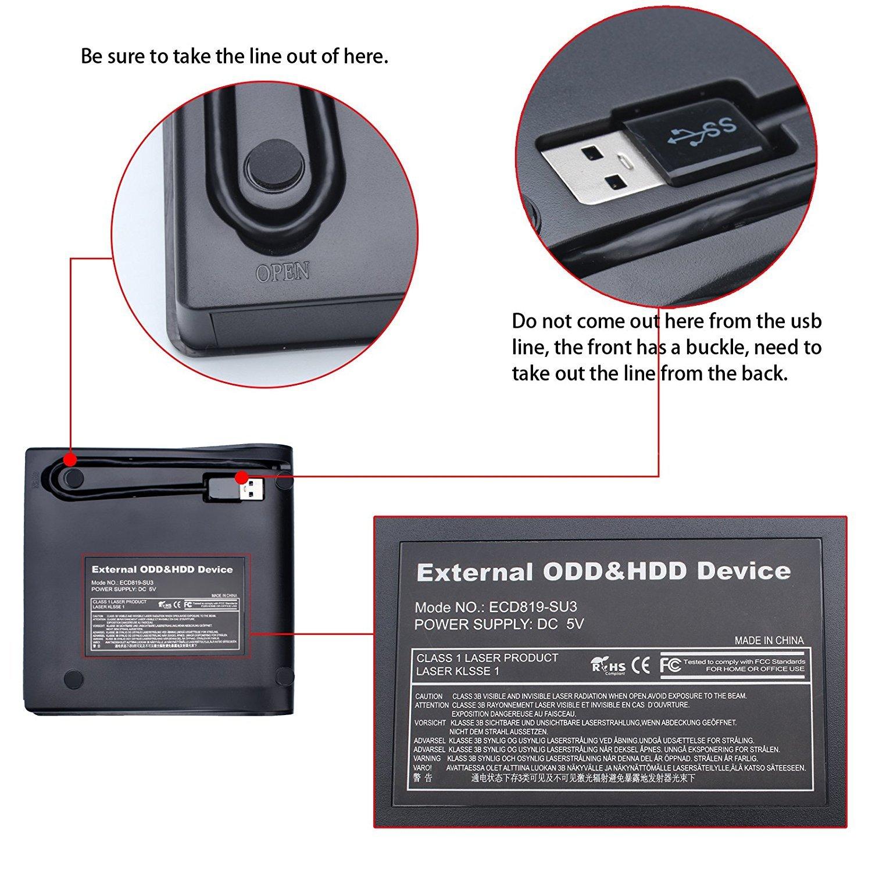 External DVD CD Drive, Mougerk USB 3.0 Ultra Slim Drives CD DVD RW Player/ DVD CD ROM Drive / Writer / Rewriter / USB CD Burner For Mac Macbook Pro, Laptops Desktops by Mougerk (Image #5)