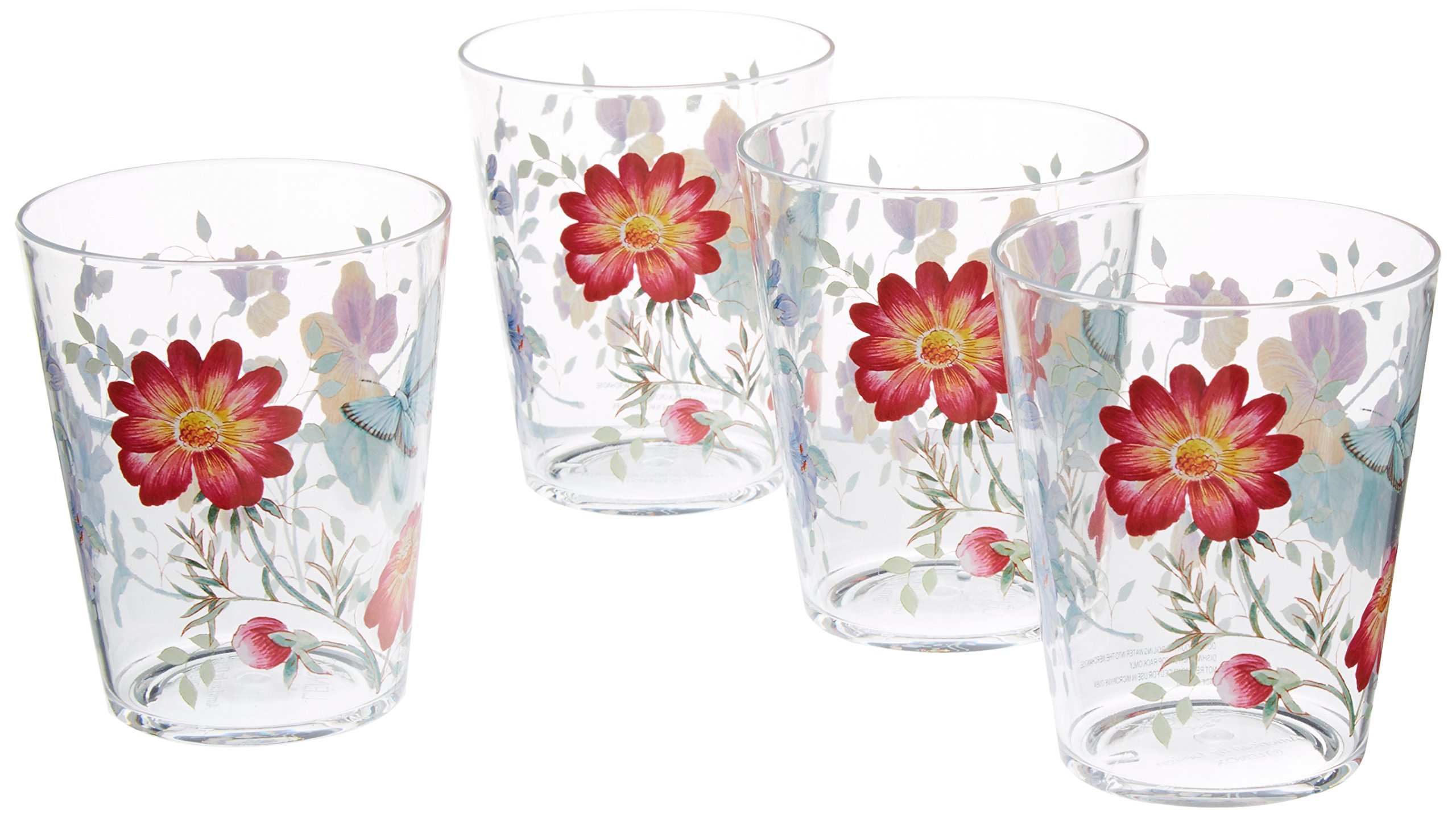 Lenox 866237 Butterfly Meadow Acrylic DOF Glass (Set of 4), Multicolor