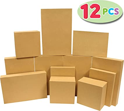 Amazon Com 12 Pieces Brown Kraft Cardboard Boxes Gift Wrap For