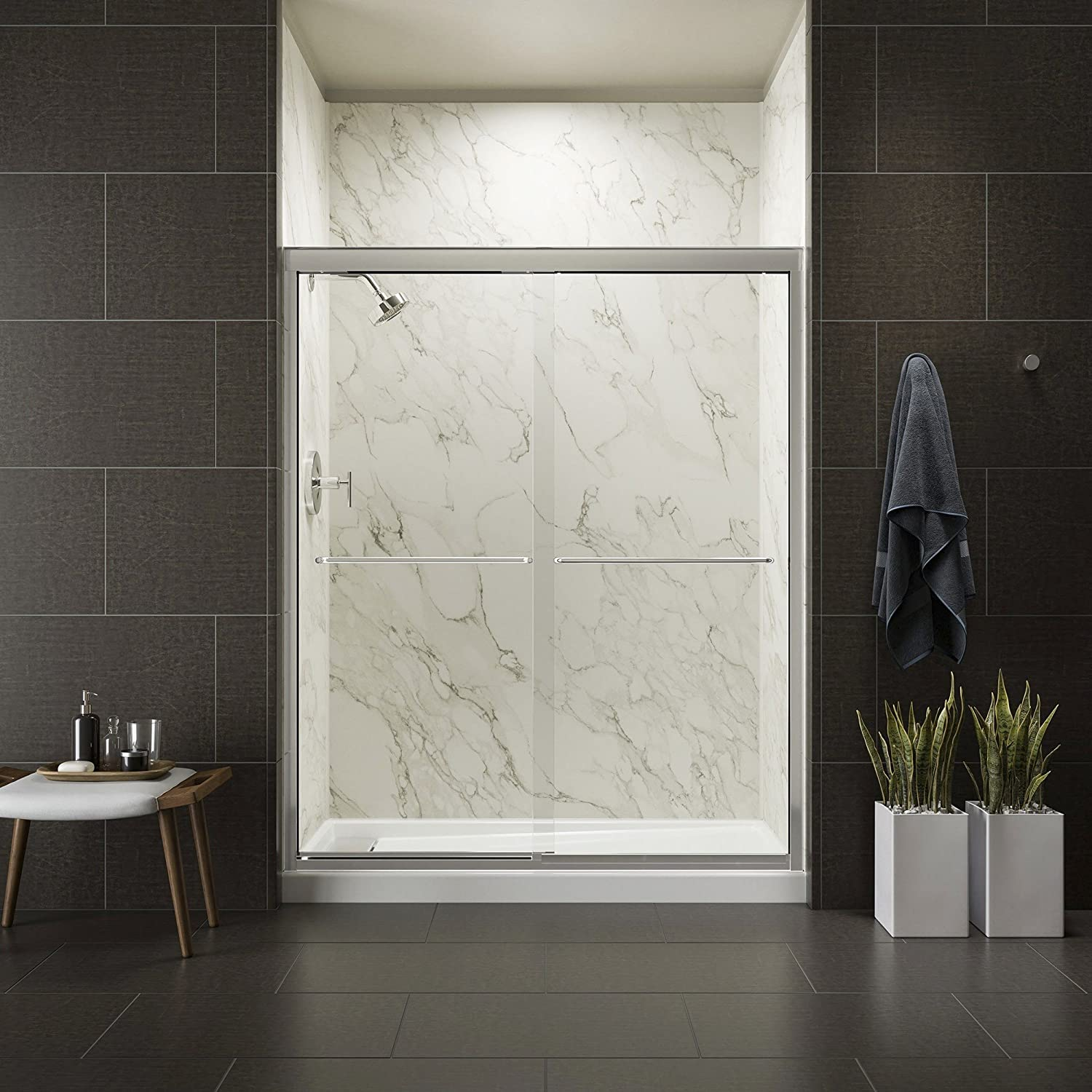KOHLER K-702207-L-SHP Fluence 3 8-Inch Thick Glass Bypass Shower Door, Bright Polished Silver