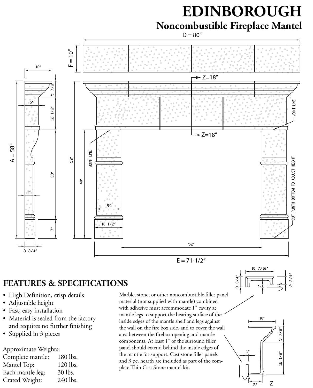 Amazon.com: Edinborough Thin Cast Stone Adjustable Fireplace ...