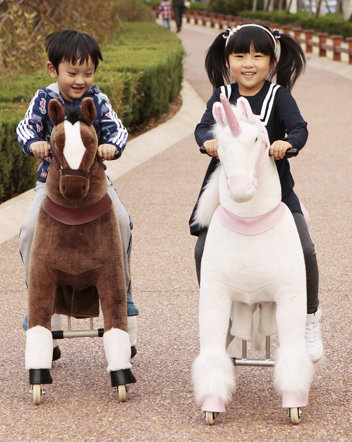 Mechanical Ride on Unicorn Simulated Horse Riding on Toy Ride-on Cycle Toys More Comfortable Riding with Gallop Motion for Kids 5-12 Years
