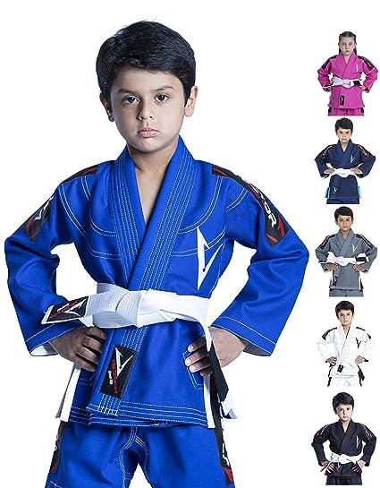 Vector Sports Kids Jiu Jitsu BJJ Gi brasileño con cinturón Blanco Libre 100% algodón Perlado Tejido Kimono Ultra Ligero Preencogido Tela