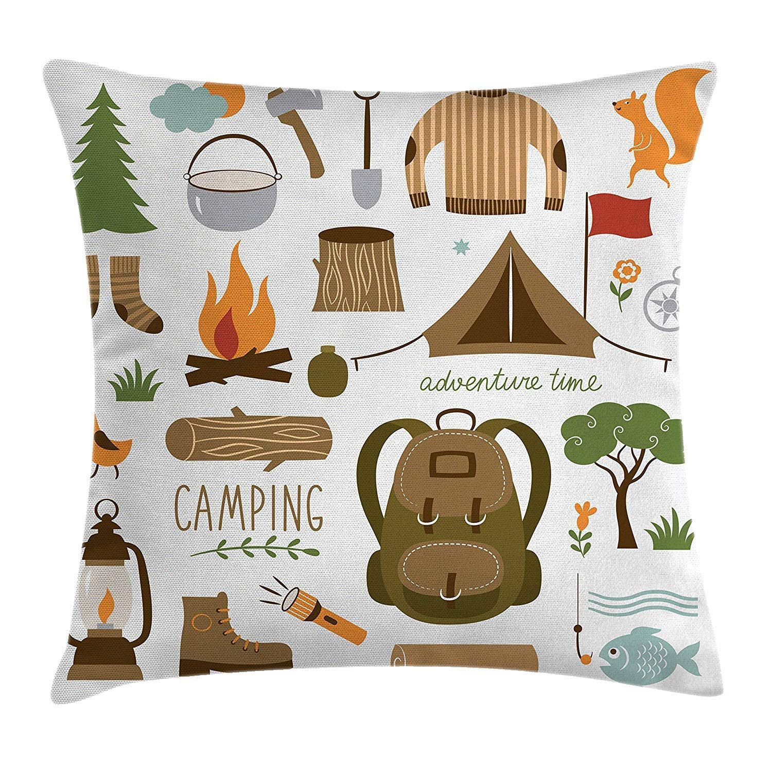 Adventure Throw Pillow Cushion Cover Decorative Square Accent Pillow Case Multicolor 18 X 18 inches Camping Equipment Sleeping Bag Boots Campfire Shovel Hatchet Log Artwork Print