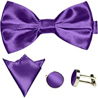 GASSANI Men's Shiny Satin Bow Tie Hanky & Cufflinks Set