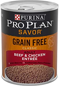 Purina Pro Plan Grain Free, High Protein Wet Dog Food, SAVOR Classic Beef & Chicken Entree - (12) 13 oz. Cans