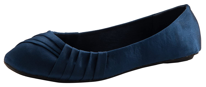 Cambridge Select Women's Slip-On Woven Closed Round Toe Ballet Flat B07B13NVYR 10 B(M) US|Navy Satin