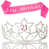 21 Tiara and Sash 21st Birthday Party Supplies Accessories, Silver Pink Set (Tiara and Sash)
