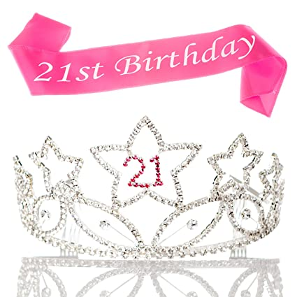 Ella Celebration 21 Tiara and Sash 21st Birthday Party Supplies  Accessories, Silver Pink Set (Tiara and Sash)